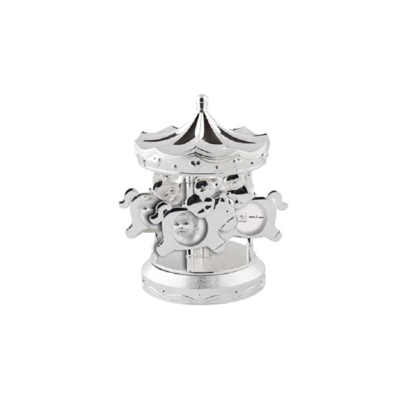 Cornice Portafoto con Carillon Giostra Mascagni in silver