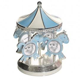 Cornice Carillon Portafoto Mascagni in Metallo Azzurro