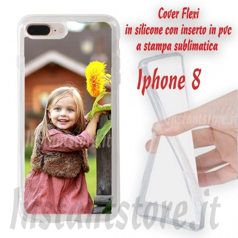 Cover Flexi personalizzata per iPhone 8 in silicone con stampa sublimatica
