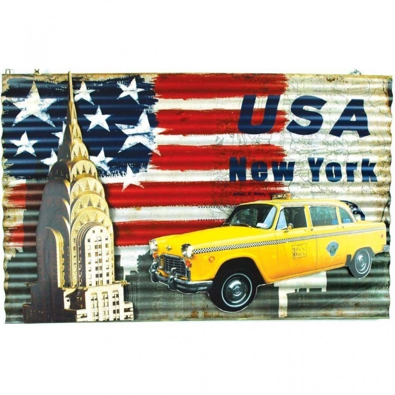 Metal Art Taxi Usa New York 60x44,5x1 placca in metallo Chrysler vintage