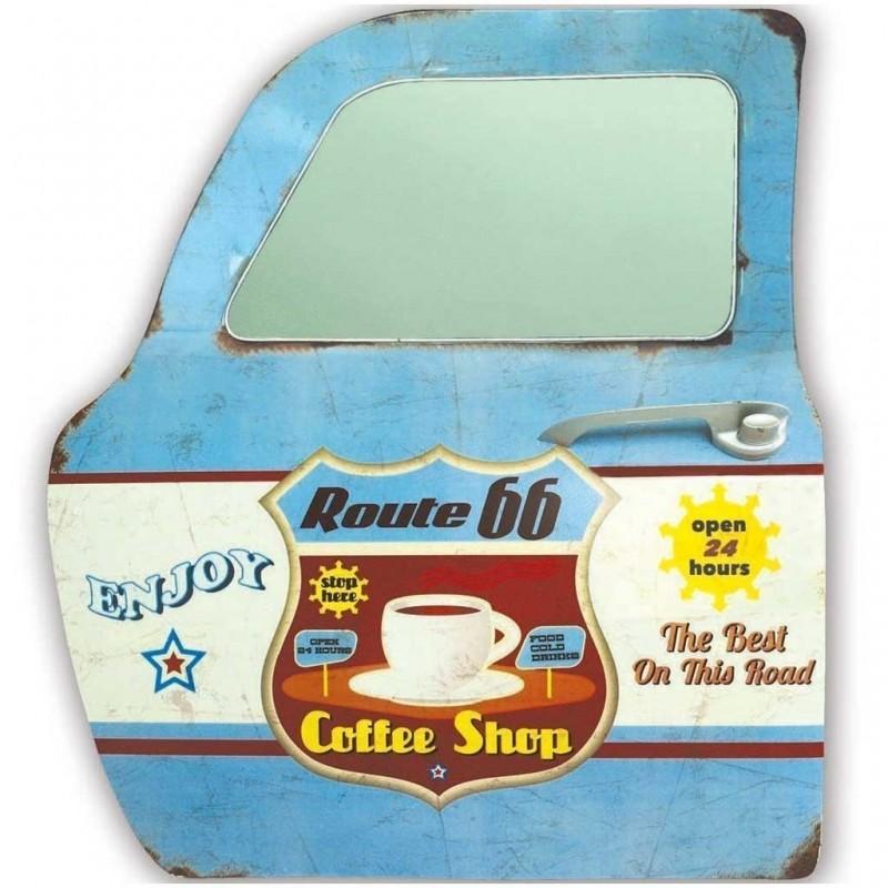 Metal Art Route 66 Porta con specchio 42x47,5cm placca in metallo Pittsburg vintage