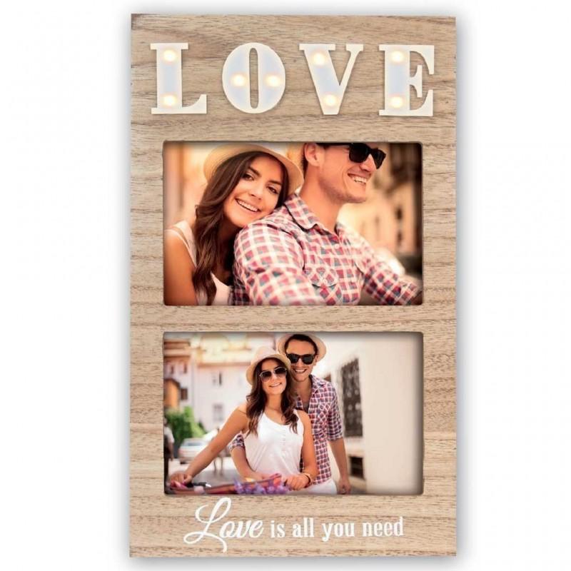 Cornice portafoto in legno retroilluminata con scritta Love