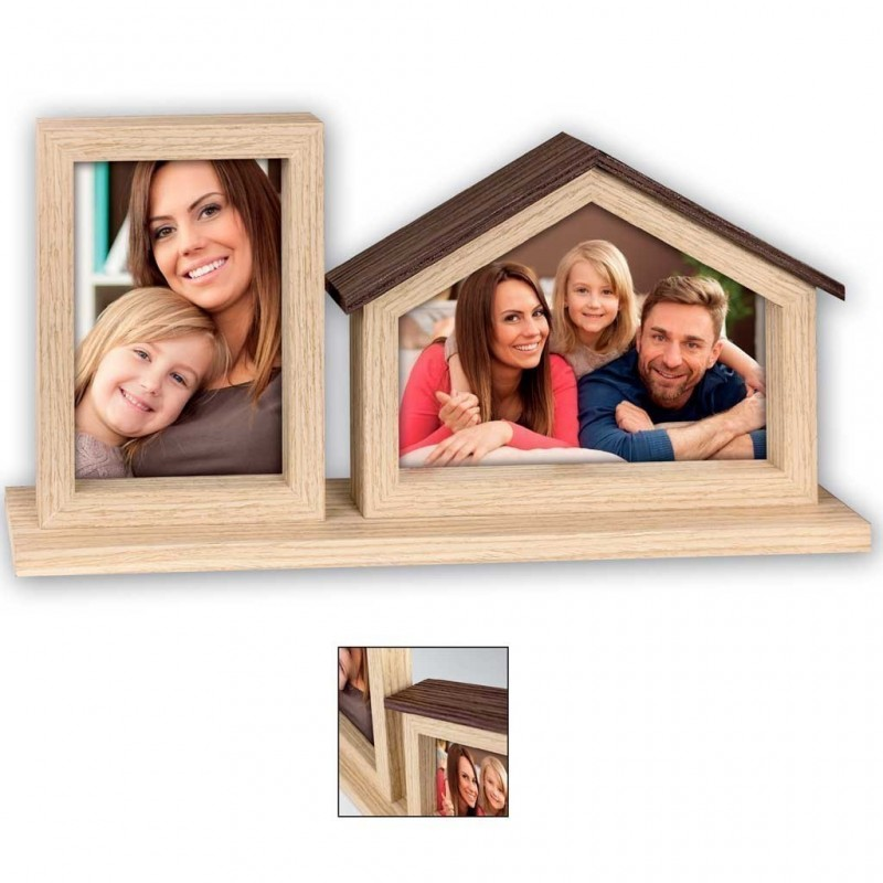 Cornice portafoto in legno Casa 2q per foto 10x15 13x18