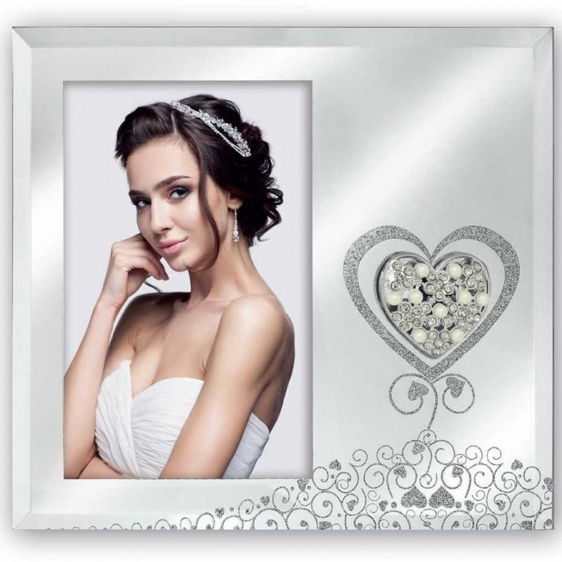 Cornice portafoto in vetro a specchio 10x15 con cuore