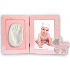Cornice portafoto 10x15 in legno con impronta del bambino