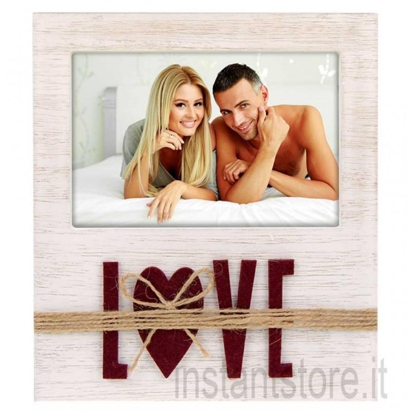 Cornice portafoto in legno con scritta Love 10x15