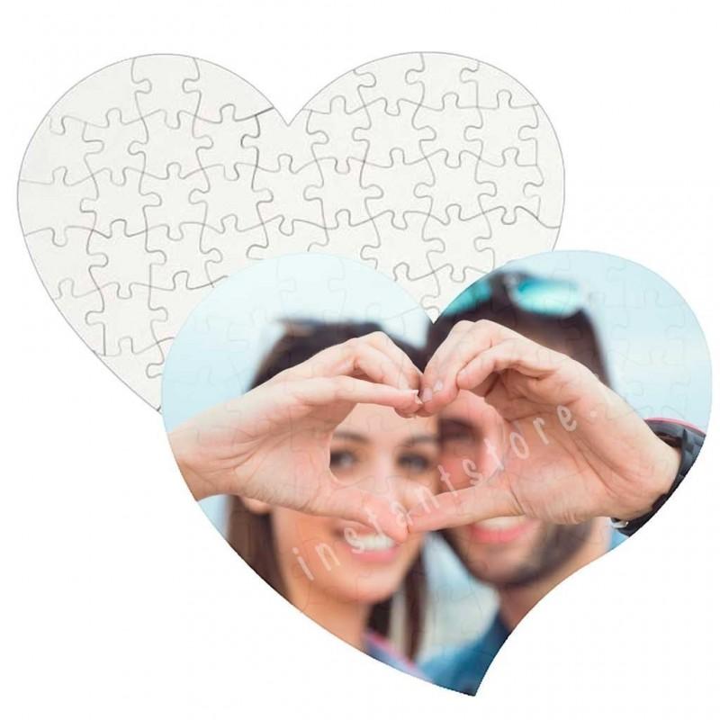 Puzzle in masonite lucida a forma di cuore personalizzabile con foto