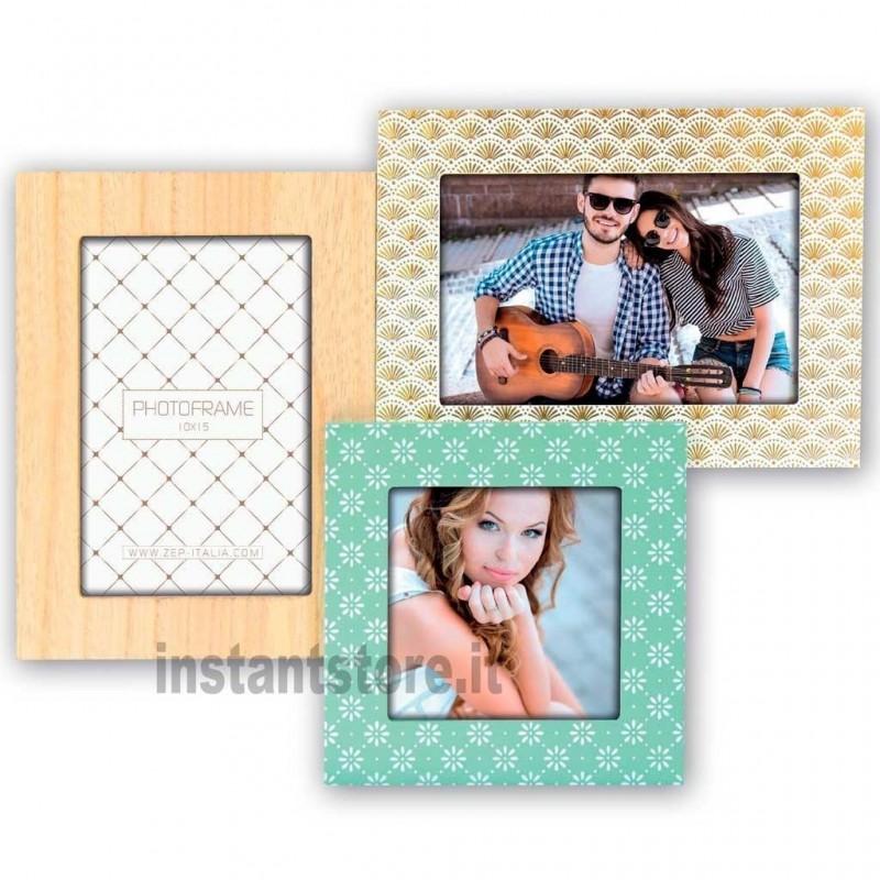 Cornice portafoto in legno Tijuana 2 foto 10x15 e una 10x10