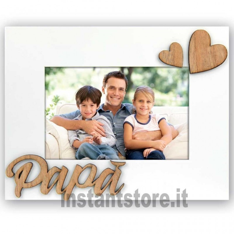 Cornice portafoto in legno Papà per foto 10x15