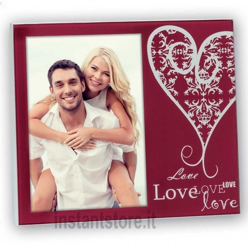 Cornice portafoto in vetro Amalia Red 10x15 con scritta love