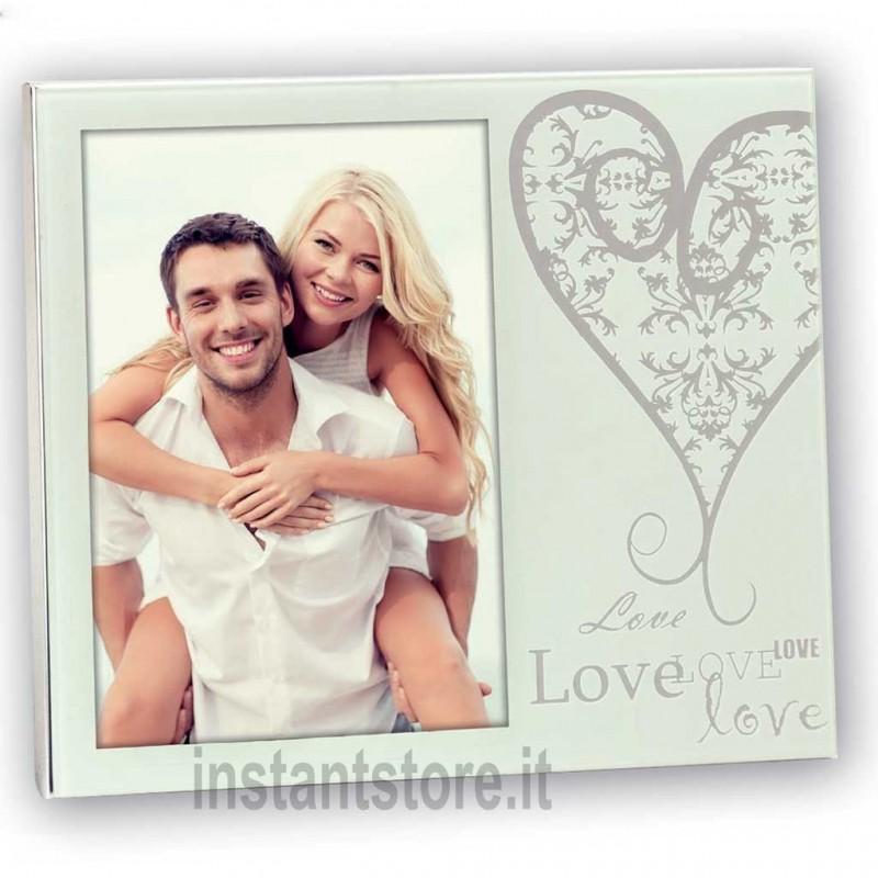 Cornice portafoto in vetro Amalia White 10x15 con scritta love