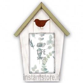 Cornice Fotografica Tweet 2 in legno a forma di Casa per foto 10x15