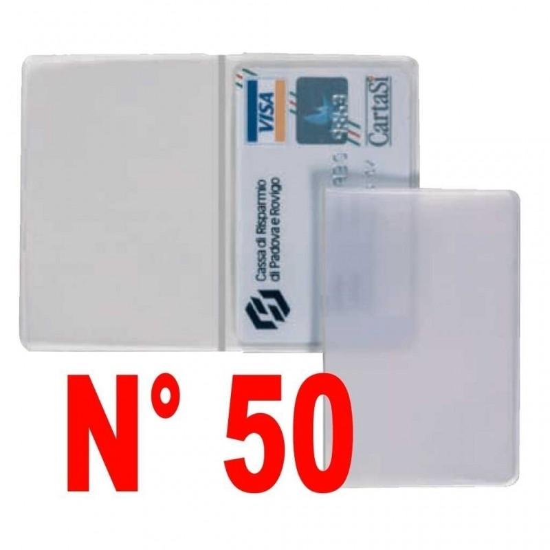 N° 50 pezzi porta patente - carte di credito - bancomat  trasparente