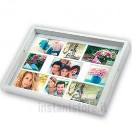 Vassoio con Cornice Fotografica multipla in legno bianco 9 foto