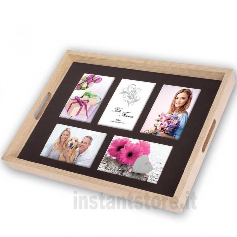 Vassoio con Cornice Fotografica multipla in legno 5 foto