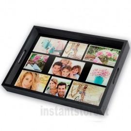 Vassoio con Cornice Fotografica multipla in legno Nero 9 foto