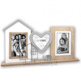 Cornice fotografica in legno 3 foto con cuore Portafoto multiplo Country