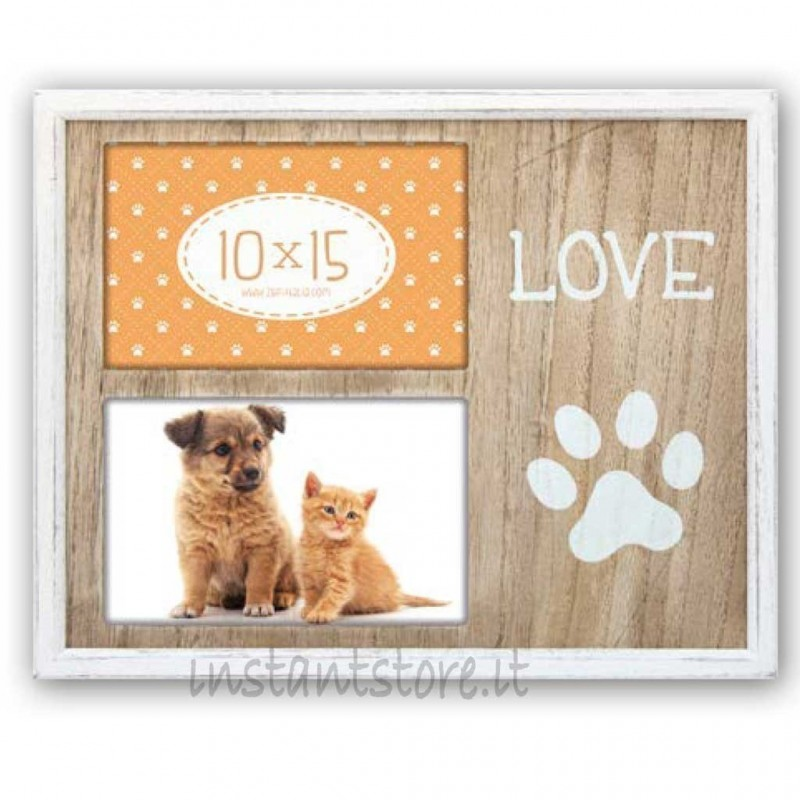 Cornice portafoto in legno per cuccioli 2 foto 10x15 Barret