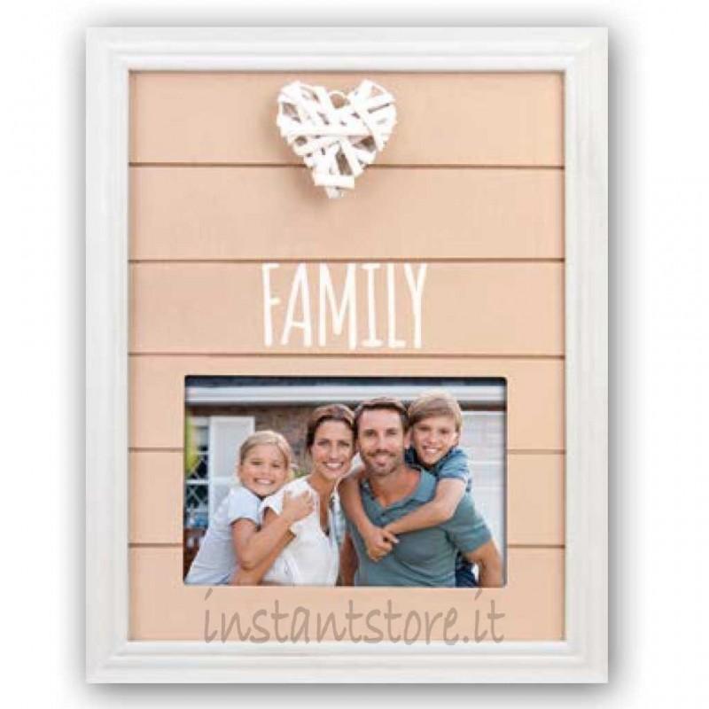 Cornice portafoto in legno 10x15 Family con cuore Legacy