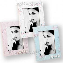 Cornice Portafoto in legno 13x18 Mascagni A948 rosa azzurra o bianco
