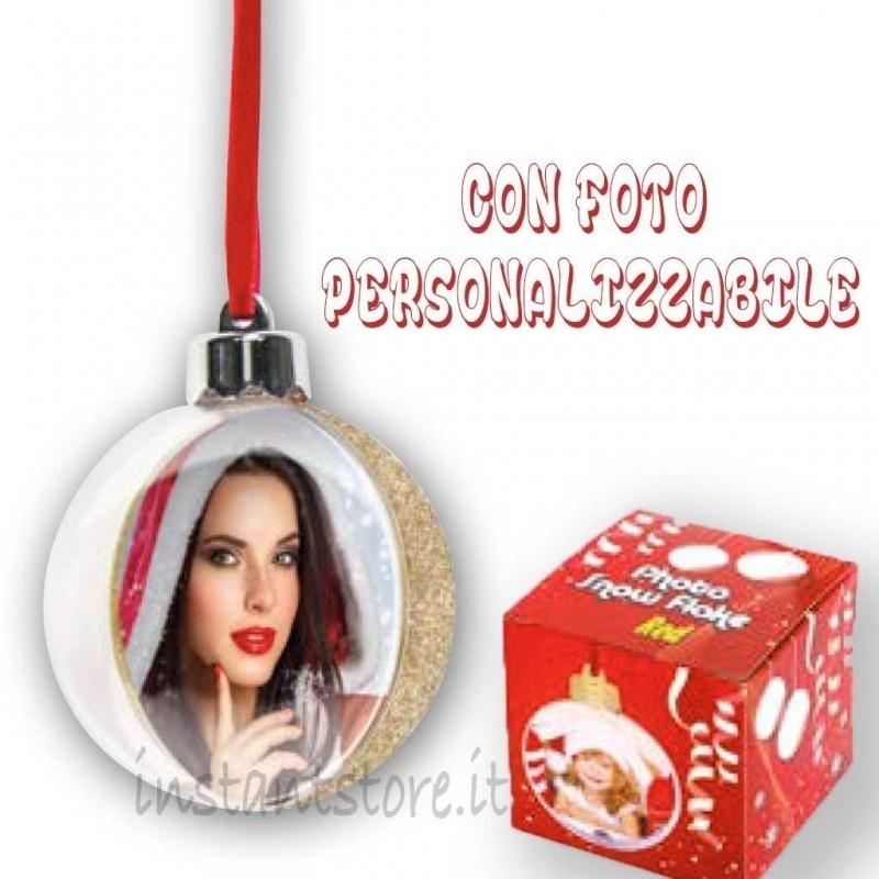 Pallina Natalizia con foto personalizzabile Addobbi albero di natale sf105g