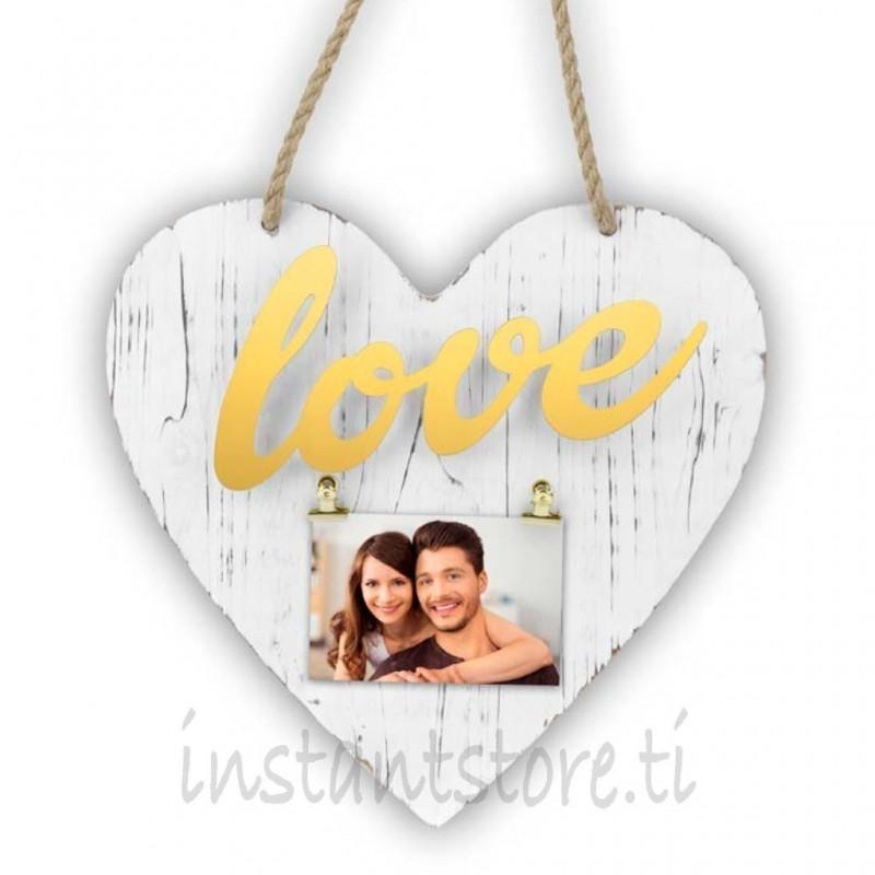 Cornice Fotografica Zep Portafoto in legno a forma di cuore Elvira gold