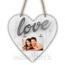 Cornice Fotografica Zep Portafoto in legno a forma di cuore Elvira silver