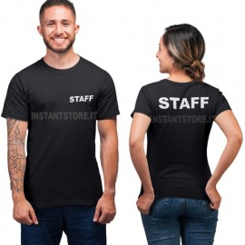 T-Shirt scritta Staff unisex maglietta nera per bar locali negozi ecc