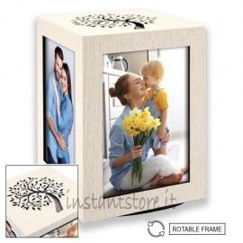 Cubo portafoto in legno 10x15 con intaglio albero della vita