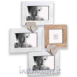 Cornice in legno Portafoto multiplo da parete Mascagni A946 bianco