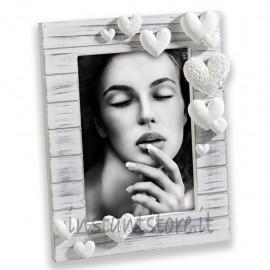 Cornice Portafoto in legno 13x18 Mascagni A283 con cuori in resina