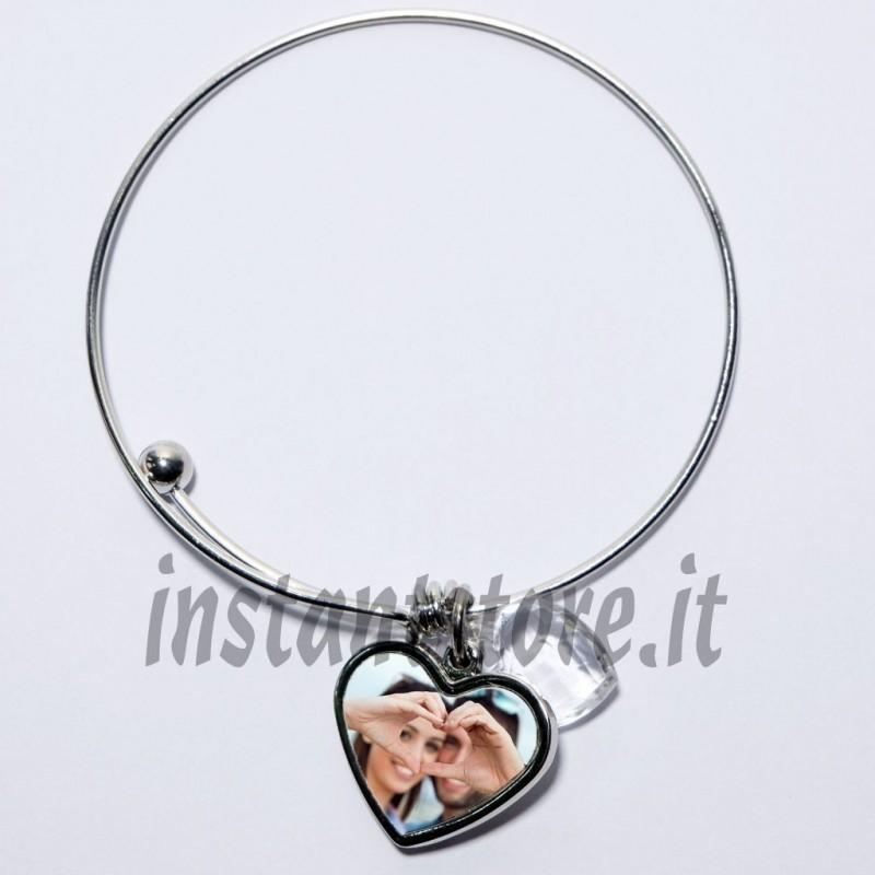 Bracciale personalizzato con foto o scritta a forma di cuore