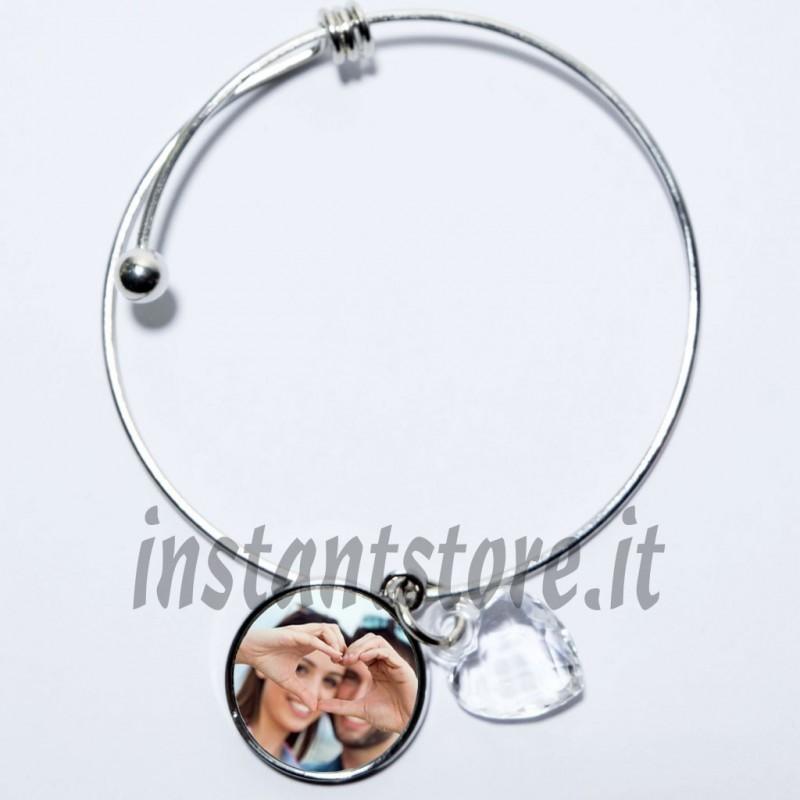 Bracciale personalizzato con foto o scritta con pendente rotondo