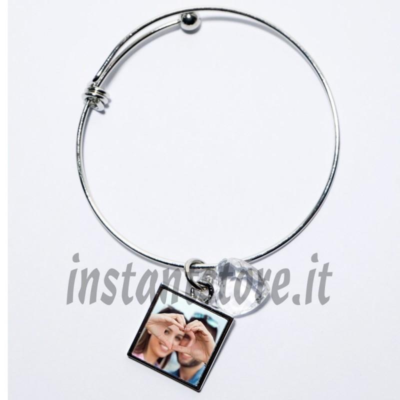 Bracciale personalizzato con foto o scritta con pendente quadrato