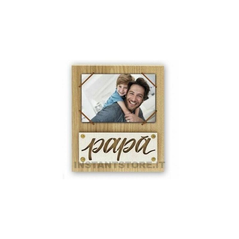 Cornice portafoto in legno scritta Papà per foto 10x15 con elastico - instantsto