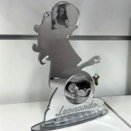Porta ecografia donna incinta cornice in plexiglass a specchio personalizzata -