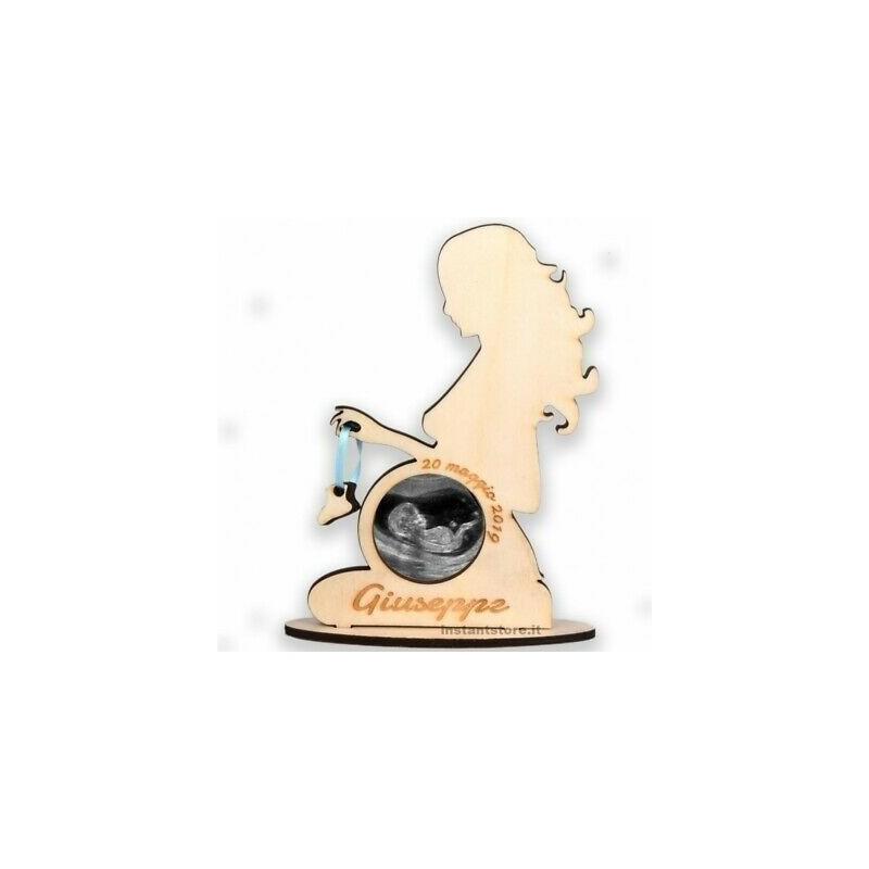 Porta ecografia donna incinta personalizzata in legno con foto - Hand Made