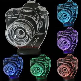 Lampada led personalizzata con Nome fotocamera Canon 3d effect
