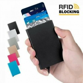 PORTA CARTE DI CREDITO BANCOMAT RFID SLIM ALLUMINIO portafoglio per tessere