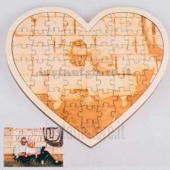 Puzzle a forma di cuore in legno con fotoincisione personalizzato con foto nomi ecc