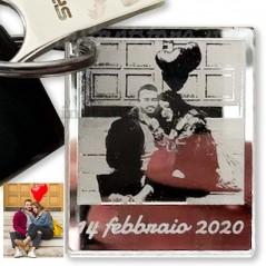 Portachiavi personalizzato con fotoincisione in plexiglass specchiato formato polaroid