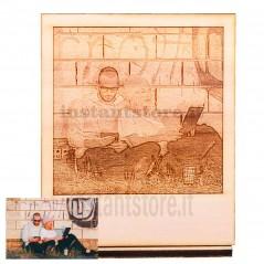 Fotoincisione a laser su legno personalizzata formato polaroid