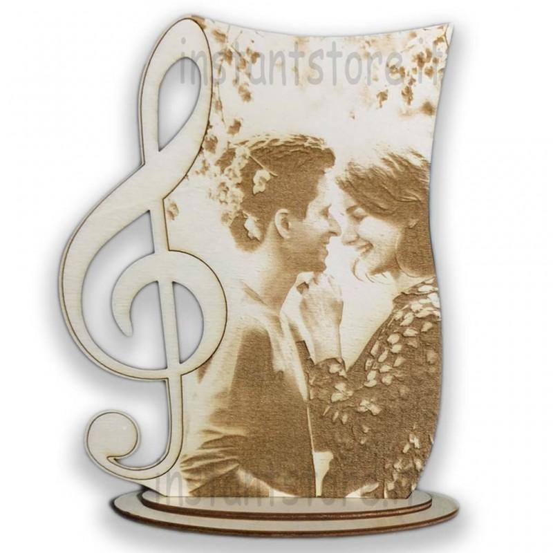 Fotoincisione su legno personalizzata con chiave di violino
