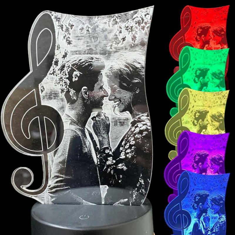 Lampada led con chiave di violino personalizzata con la tua foto su plexiglass