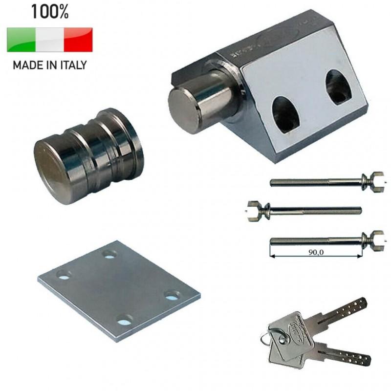 Lucchetto Alta sicurezza in acciaio per porte basculanti e saracinesce fissaggio a pavimento