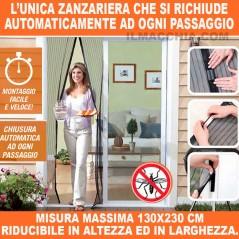 ZANZARIERA MAGNETICA CON CALAMITA 130X230 RIDUCIBILE UNIVERSALE PORTA FINESTRA
