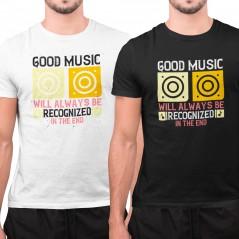 T-Shirt tema musicale good music maglietta bianca o nera