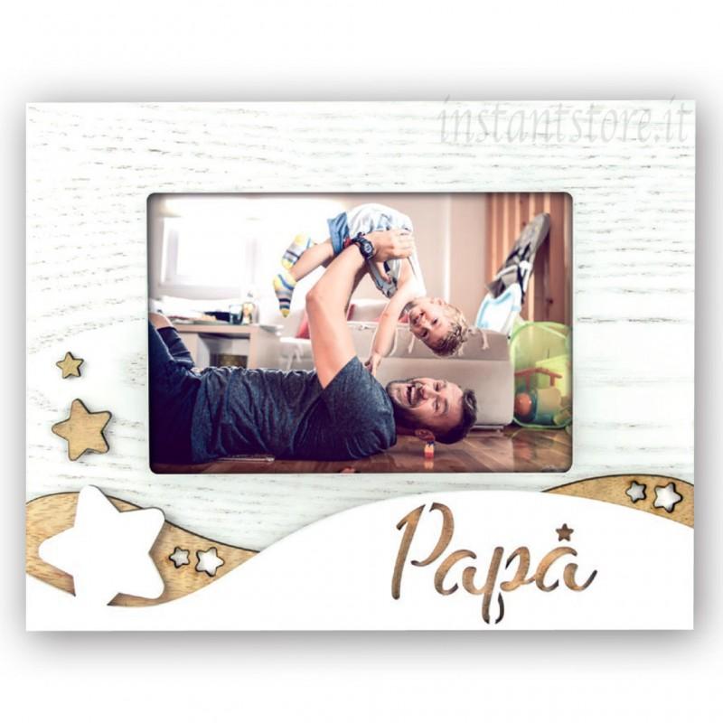 Cornice portafoto in legno 10x15 con scritta Papà cuore in rilievo