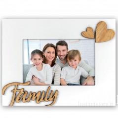 Cornice portafoto in legno 10x15 con scritta Family e cuore in rilievo