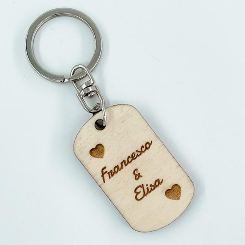 Portachiavi in legno personalizzato con incisione tipo medaglietta
